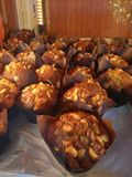 Banana Muffins. A close look at a bunch of freshly baked Banana muffins stock photography
