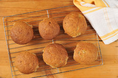 Banana Muffins on a cooling rack Royalty Free Stock Image
