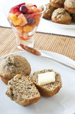 Banana Muffins and Fruit Salad Breakfast Royalty Free Stock Photos