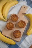 Banana Muffins. Home made Banana Muffins on a plate stock images