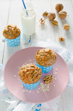 Banana muffins with oatmeal and nuts Royalty Free Stock Photography