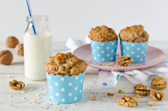 Banana muffins with oatmeal and nuts Royalty Free Stock Photos