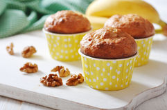 Banana muffins in paper cupcake case Royalty Free Stock Image