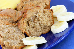 Banana Muffins with Sliced Banana Royalty Free Stock Images