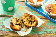 Banana muffins with slices of chocolate Royalty Free Stock Photo