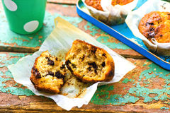 Banana muffins with slices of chocolate Stock Image