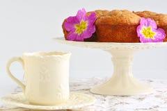 Banana muffins with tea Stock Photo