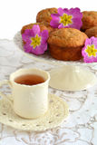 Banana muffins with tea Stock Photography