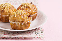 Banana muffins with walnuts and white chocolate Stock Photography