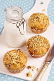 Banana muffins with walnuts and white chocolate Royalty Free Stock Photos