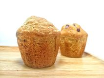 Banana muffins on a wooden table stock image