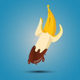 Banana no chocolate Foto de Stock Royalty Free