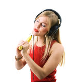 Banana, not microphone Stock Photography