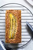 Banana and Nut Bread Loaf Stock Photos
