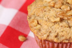 Banana Nut Muffin. Macro of freshly baked Banana nut muffin Stock Images