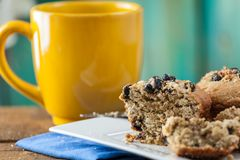 Banana Nut Muffin Served With Coffee For Breakfast On Vintage Ru Stock Photography