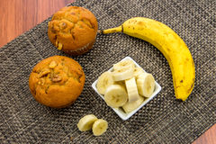 Banana nut muffins. With fresh bananas adn walnuts Stock Photography