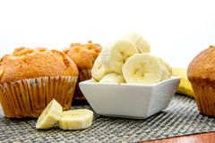 Banana nut muffins Royalty Free Stock Images