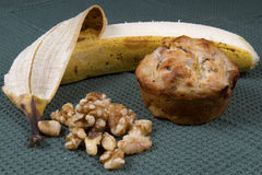 Banana Nut Muffins with Ingredients Stock Photo