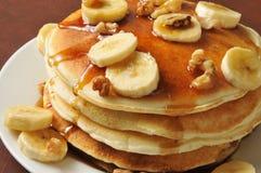 Banana nut pancakes closeup Stock Photo