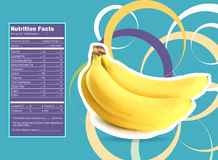 Banana nutrition facts. Creative Design for Banana with Nutrition facts label Stock Images