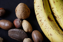 Banana and nuts Stock Image
