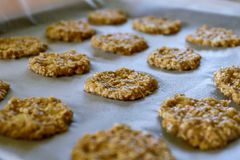 Banana oatmeal cookie on the pan royalty free stock image