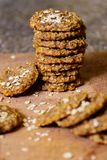 Banana oatmeal cookie on the wooden board stock photos