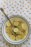 Banana oatmeal served on a table. A spoon view from top Royalty Free Stock Photography