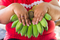 Banana obese women Royalty Free Stock Images