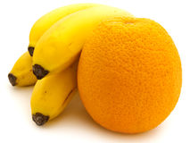 Banana and orange Stock Images