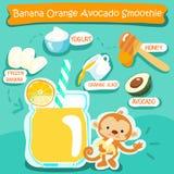 Banana Orange Avocado delicious healthy smoothies  Royalty Free Stock Photos