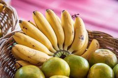Banana and orange in a fruit stand. In thailand Royalty Free Stock Photo