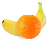 Banana and orange fruits isolated on white with clipping path Stock Photos