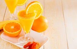 Banana and orange smoothie Royalty Free Stock Images