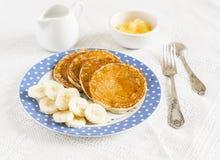 Banana pancake. Delicious breakfast. Stock Photos