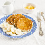 Banana pancake. Healthy and delicious breakfast. Royalty Free Stock Images