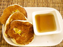 Banana pancake and maple syrup Stock Photo