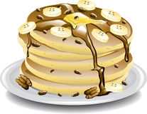 Banana pancakes vector illustration