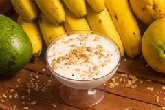 Banana, Papaya, Avocado, Granola and Yogurt Royalty Free Stock Image