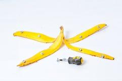 Banana, parafusada para o cofre forte imagem de stock royalty free