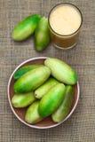 Banana Passionfruit (lat. Passiflora tripartita) Stock Images