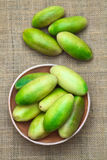 Banana Passionfruit (lat. Passiflora Tripartita). Latin American fruit called banana passionfruit (lat. Passiflora tripartita) (in Spanish mostly tumbo, curuba royalty free stock photo