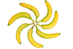 Banana pattern. Spiral Pattern with Seven Bananas suggesting Rotating Movement Stock Photo