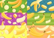 Banana pattern set, cartoon style stock illustration