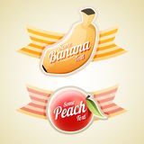 Banana and Peach labels. Vector illustration of Banana and Peach labels Stock Photos