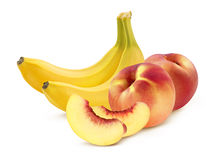 Banana and peach pieces  on white background Royalty Free Stock Photography