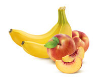 Banana and peach  on white Royalty Free Stock Photo