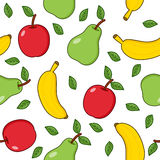 Banana Pear Apple Seamless Pattern Stock Images