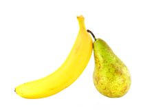 Banana and pear varieties Conference Stock Photos